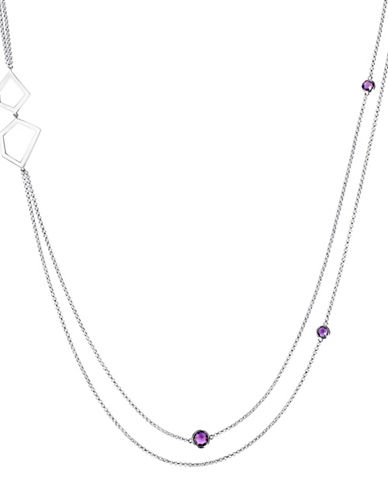 Catherine Malandrino Sterling Silver Amethyst Two-Strand Geometric Station Necklace-PURPLE-One Size