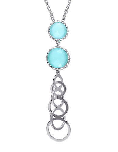 Catherine Malandrino Sterling Silver Turquoise Tiered Necklace-TURQUOISE-One Size