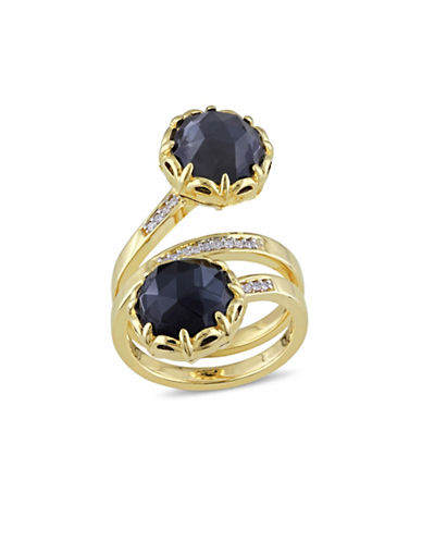 Catherine Malandrino 18K Goldplated 0.10TCW Diamond and Hematite Wrap Ring-BLACK-7