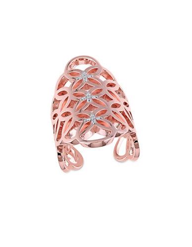 Catherine Malandrino 18K Rose Goldplated and 0.10 TCW Diamonds Circle Linked Gladiator Ring-ROSE GOLD-7
