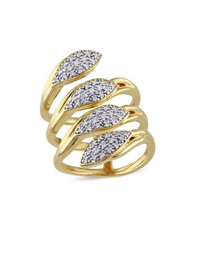 Catherine Malandrino 18K Goldplated and 0.25TCW Diamonds Leaf Ring-GOLD-7