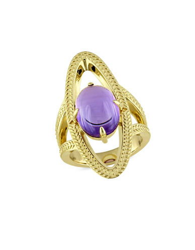 Catherine Malandrino 18K Goldplated Amethyst Open Link Cocktail Ring-PURPLE-7