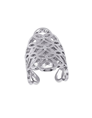 Catherine Malandrino 0.10TCW Diamond Circle Linked Gladiator Ring in Sterling Silver-WHITE-7