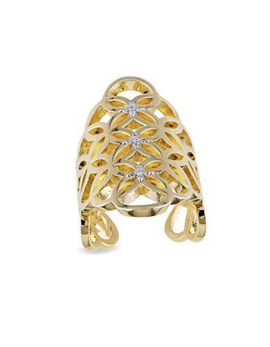 Catherine Malandrino 0.10TCW Diamond Circle Linked Gladiator Ring in 18k Yellow Goldplated Sterling Silver-GOLD-8