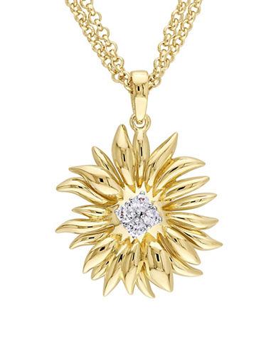 V19.69 Italia Logo Flower White Sapphire 18K Goldplated Sunflower Pendant Necklace-GOLD-One Size