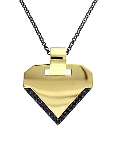 V19.69 Italia Insignia Black Sapphire 18K Goldplated Pendant Necklace-BLACK-One Size