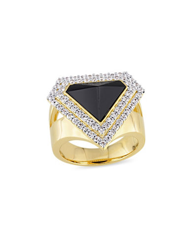 V19.69 Italia 18K Goldplated Sterling Silver Black Agate and White Sapphire Mystique Halo Ring-BLACK-8