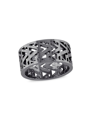 V19.69 Italia Black Rhodium-Plated Sterling Silver Openwork Ring-BLACK-11