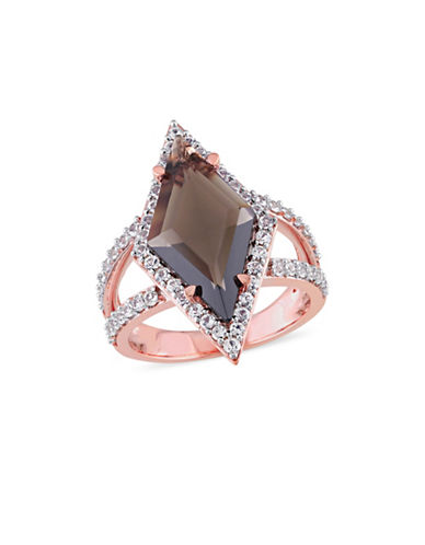 V19.69 Italia 18k Rose Goldplated Smokey Quartz and White Sapphire Prism Ring-BROWN-9