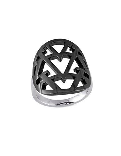 V19.69 Italia Black Rhodium Sterling Silver Openwork Ring-BLACK-8