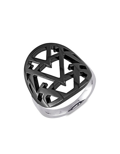V19.69 Italia Black Rhodium and Sterling Silver Openwork Ring-BLACK-5
