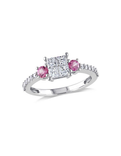 Concerto 0.50TCW Diamond and Pink Sapphire Quad Engagement Ring in 14k White Gold-WHITE-7