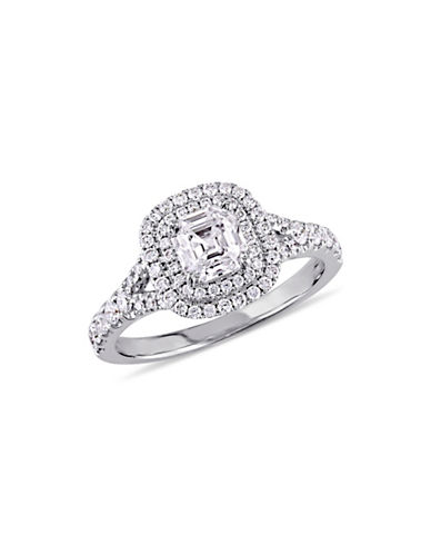 Concerto 1.50TCW Diamond Double Halo Split Shank Engagement Ring in 14k White Gold-WHITE-9