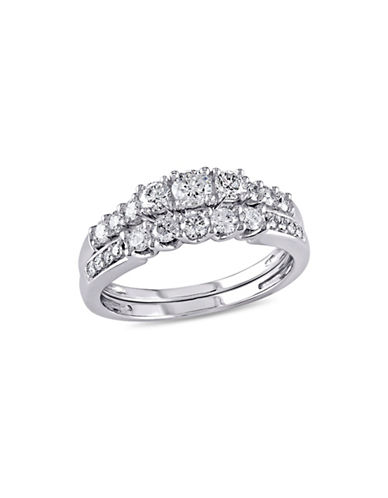 Concerto 0.82TCW Diamond Three-Stone Bridal Set in 14k White Gold-WHITE-9