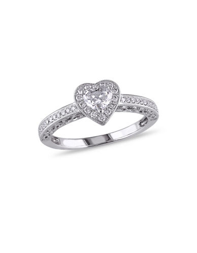 Concerto 0.50TCW Diamond Halo Heart Engagement Ring in 14k White Gold-WHITE-9