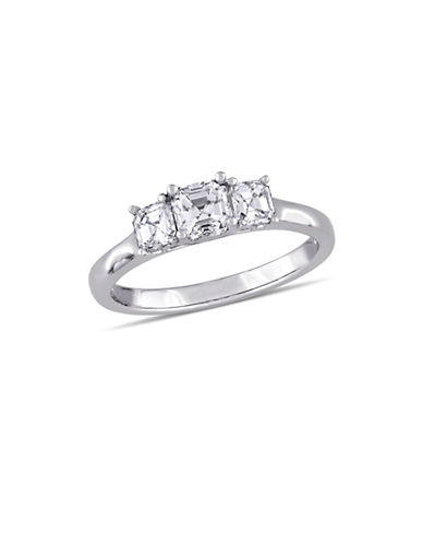Concerto 1TCW Asscher-Cut Diamond Three-Stone Engagement Ring in 14k White Gold-WHITE-9
