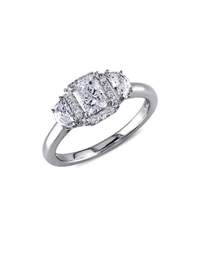 Concerto 1TCW Multi-Shape Diamond Three-Stone Halo Engagement Ring in 14k White Gold-WHITE-5