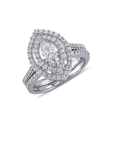 Concerto 1TCW Diamond Halo Bridal Set in 14k White Gold-WHITE-9