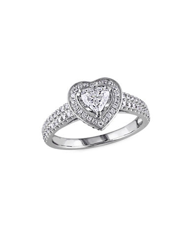 Concerto 1TCW Diamond Halo Heart Engagement Ring in 14k White Gold-WHITE-6