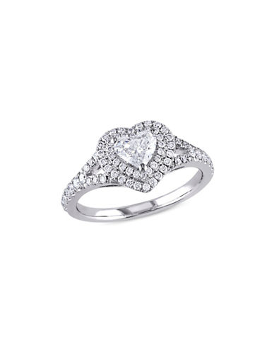 Concerto 1TCW Diamond Double Halo Heart Engagement Ring in 14k White Gold-WHITE-9