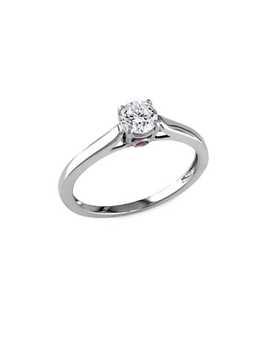 Concerto 14K White Gold Sapphire and 0.5 tcw Diamond Ring-WHITE GOLD-7