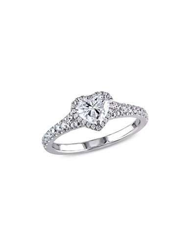 Concerto 1TCW Diamond Halo Heart Engagement Ring in 14k White Gold-WHITE-9