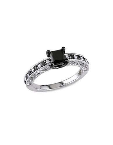 Concerto 1 TCW Black and White Diamond and Sterling Silver Engagement Ring-BLACK-8
