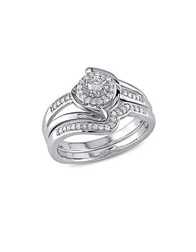 Concerto 0.25 TCW Diamond Halo Twist Split Shank Bridal Ring Set in Sterling Silver-WHITE-4