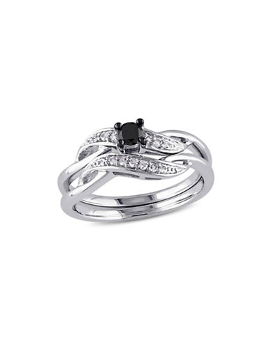 Concerto 0.24 TCW Black and White Diamond Bridal Ring Set in Sterling Silver-BLACK-6
