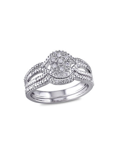 Concerto 0.14 TCW Diamond and Sterling Silver Bridal Ring Set-WHITE-5