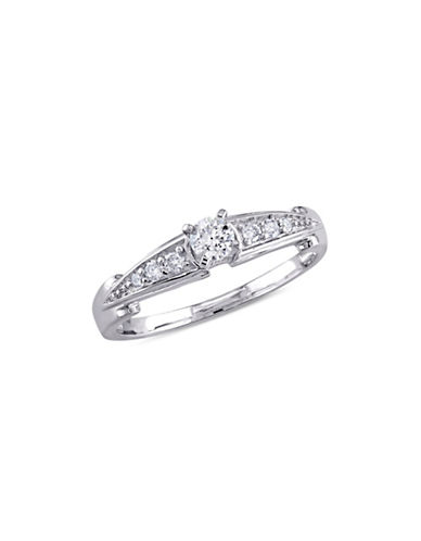 Concerto 0.26 TCW Diamond and Sterling Silver Channel-Set Engagement Ring-WHITE-9