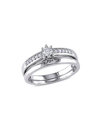 Concerto 0.24 TCW Diamond and Sterling Silver Bridal Ring Set-WHITE-5