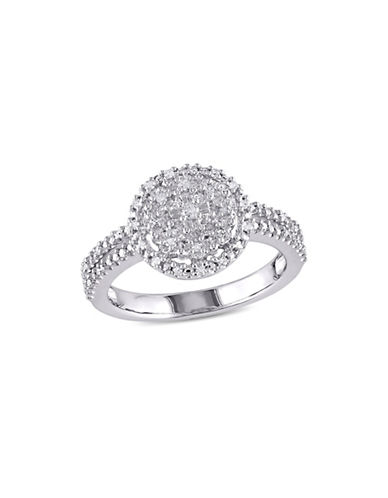Concerto 0.2 TCW Diamond Halo Split Shank Engagement Ring in Sterling Silver-WHITE-7