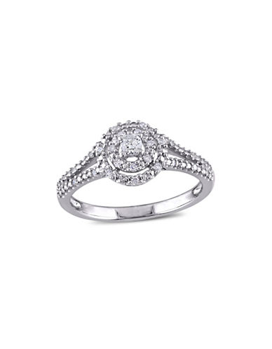 Concerto 0.2 TCW Diamond Double Halo Split Shank Engagement Ring in Sterling Silver-WHITE-5