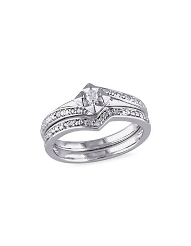 Concerto 0.1 TCW Diamond Chevron Bridal Ring Set in Sterling Silver-WHITE-6