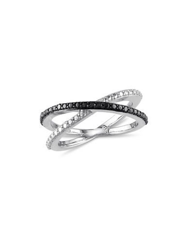 Concerto 0.05 TCW Diamond Crisscross Ring-BLACK-7