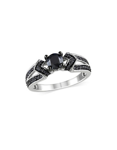 Concerto 1 TCW Diamond Studded Sterling Silver Engagement Ring-BLACK-10