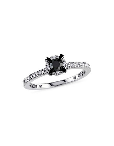 Concerto 0.33 TCW Black and White Diamond Sterling Silver Engagement Ring-BLACK-6