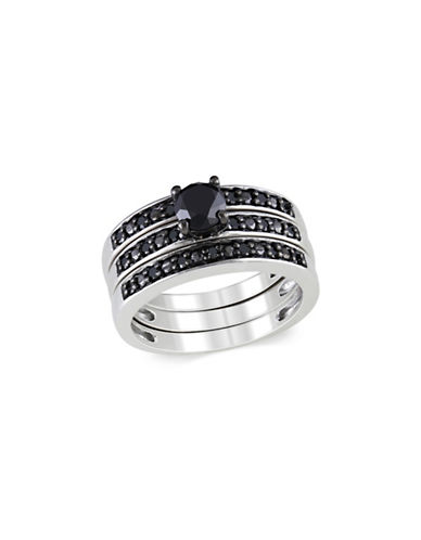 Concerto 1 TCW Black Diamond Bridal Ring Set in Sterling Silver-BLACK-6