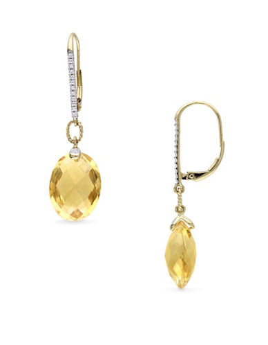 Concerto 0.14 TCW Diamonds, Citrine and 14K Yellow Gold Drop Earrings-YELLOW-One Size