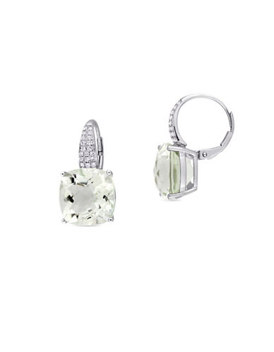 Concerto 0.20 TCW Diamonds, Green Amethyst and 14K White Gold Pierced Earrings-GREEN-One Size