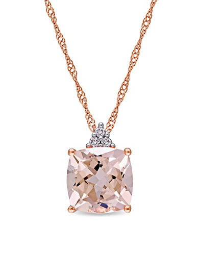 Concerto 14K Rose Gold, 0.03 TCW Diamond and Morganite Necklace-PINK-One Size