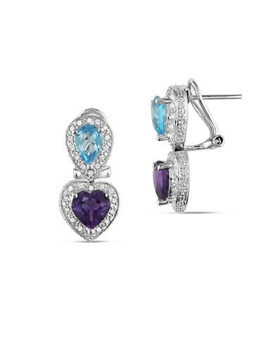 Concerto 0.30 TCW Diamonds, Amethyst, Blue Topaz & 14K White Gold Heart Pierced Earrings-MULTI-One Size