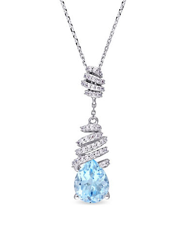 Concerto Blue Topaz, 0.2 TCW Diamond and 14K White Gold Swirl Necklace-BLUE-One Size