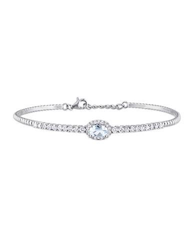 Concerto 0.63 TCW Diamonds, Aquamarine and 14K White Gold Bangle Bracelet-BLUE-One Size
