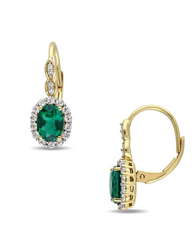 Concerto 0.04 TCW Diamonds, White Topaz, Faux Emerald and 14K Yellow Gold Pierced Earrings-GREEN-One Size