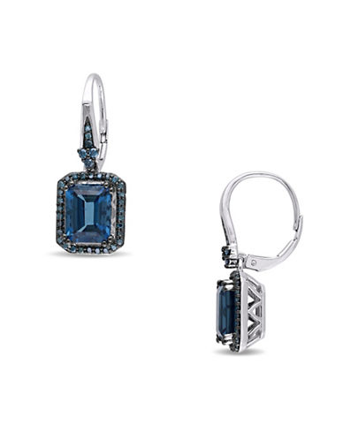 Concerto 0.50 TCW Diamonds, Blue Topaz and 14K White Gold Drop Earrings-BLUE-One Size