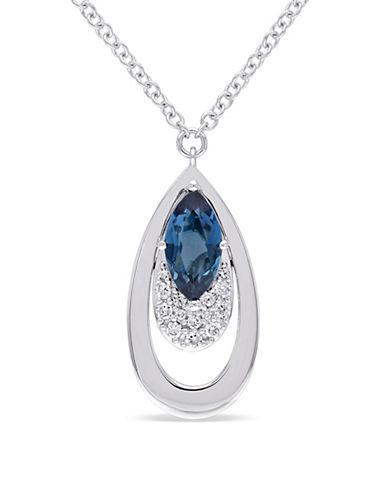 Concerto 0.19 TCW Diamond and Topaz 14K White Gold Teardrop Pendant Necklace-BLUE-One Size