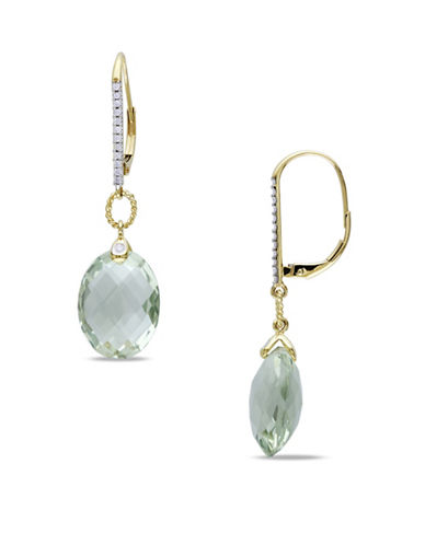 Concerto 0.14 TCW Diamonds, Green Amethyst and 14K Yellow Gold Drop Earrings-GREEN-One Size