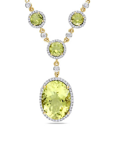 Concerto 0.50 TCW Diamond and Quartz Halo 14K Yellow Gold Necklace-YELLOW-One Size